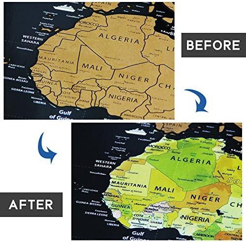 Zero con 18pcs Zero Mappa Accessori Zero Posti Che Hai Visitato BUZIFU Mappa del Mondo,XXL Mappa del Mondo 82,5 * 59.5cm Deluxe Nero