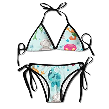 482236dbf Amazon.com: Cartoon Alien Monster Swimwear Cool Skimpy Womens Sexy ...