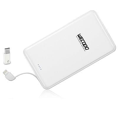 【12月10日まで】WECODO Lightning/Micro-USB両用ケーブル内蔵 5,000mAh薄型軽量モバイルバッテリー 税込840円 プライム会員送料無料