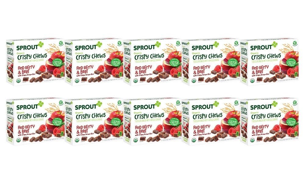 Sprout Organic Baby Food, Sprout Crispy Chews Organic Toddler Snacks, Red Berry & Beet, Case of 50 Crispy Chews (10 boxes, 5 packets per box)