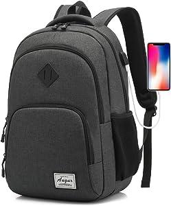 Laptop Backpack AUGUR 15.6 inch Business Travel Backpacks Water Resistant College Back Pack (Black)
