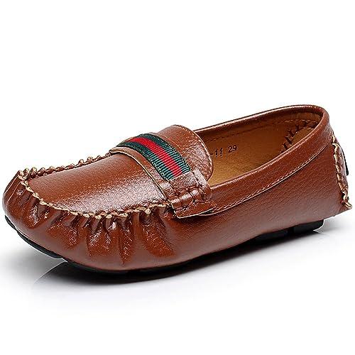 Jamron Unisexo Chicas Chicos Super Suave PU Cuero Mocasines de Cinta Pequeños Niños Niñito Ligero Zapatos para Caminar Marrón EU34.5: Amazon.es: Zapatos y ...