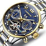PASOY Carnival Men's Watch Automatic Mechanical Tourbillon Stainless Stell Date Blue Dial Skeleton Watch