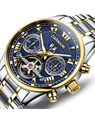 PASOY Carnival Mens Watch Automatic Mechanical Tourbillon Stainless Stell Date Blue Dial Skeleton Watch