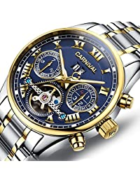 Carnival Men's Watch Automatic Mechanical Tourbillon Stainless Stell Date Blue Dial Skeleton Watch