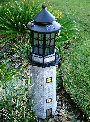 Merveilleux Garden Sunlight C5116 Solar Lighthouse Garden Decor, Gray, Amber LEDs, (35