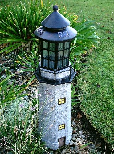Superieur Garden Sunlight C5116 Solar Lighthouse Garden Decor, Gray, Amber LEDs, (35