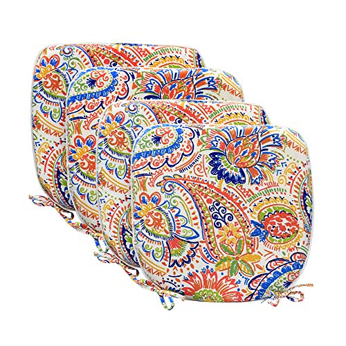 - Pcinfuns Indoor/Outdoor All Weather Chair Pads Seat Cushions Garden Patio Home Chair Cushion(Floral(4 set))