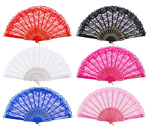 Hand fans for women, Amajiji ''Rose Lace'' Folding Hand Held Fan for Women - Spanish / Chinese / Japanese Vintage Retro Fabric Fans for Wedding, Church, Party, Gifts (Mixed Colors, 6pcs) by Amajiji