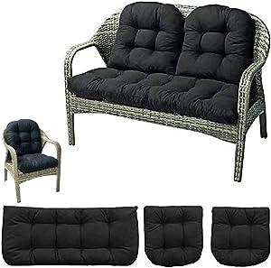 "wongbey 3 Pcs Bench Seat Cushion Cotton Garden Furniture Loveseat Cushion Patio Lounger Chairs Back Cushions Seat Pillows 43"" Settee Cushion (Black)"