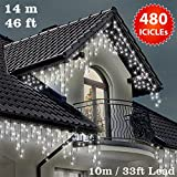 ICICLE Lights 480 LED Bright white Indoor & Outdoor Snowing Christmas Lights Fairy Lights - 17m / 56 ft with 10m / 33 ft Lead Wire - Multi-Action - Green Cabl