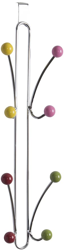 Compactor Chromé Berlingo-Perchero Vertical para Pared (8 Perchas con Bolas), Chromium Plated Steel | Wooden Colored Balls, Cromado, Applicable