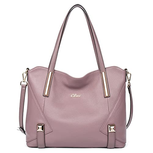 34e349034f79 CLUCI Leather Handbag Designer Top-Handle Tote Shoulder Bag Purse for Women  Taro Purple: Amazon.in: Shoes & Handbags