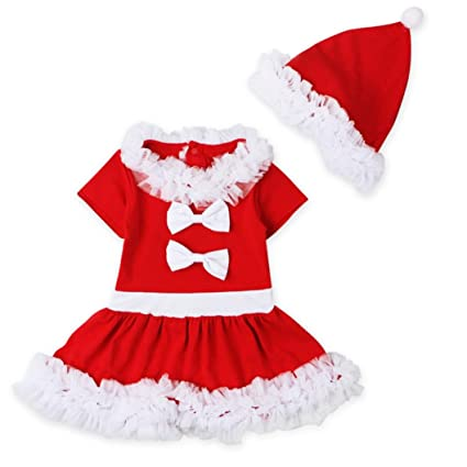 ec1712f60bf1 Baby Girl Christmas Dress Daoroka Toddler Kids Baby Girls Lace Side Red  Short Sleeve Printed Silk