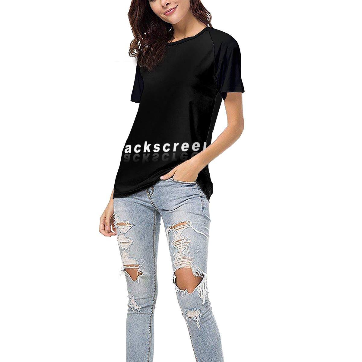 Laki-co Womens Summer Short Sleeve Blackscreen Casual Raglan Tee Baseball Tshirts Tops Blouse