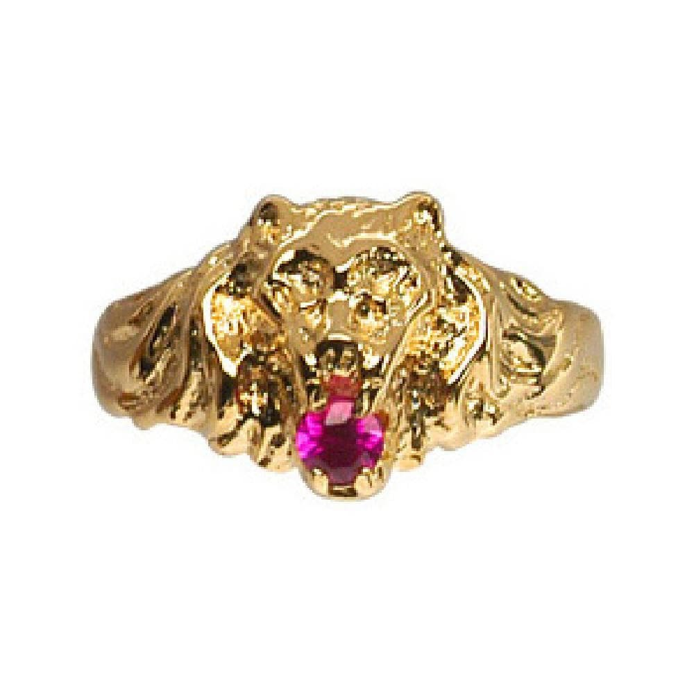 So Chic Jewels - Vermeil - Silver Gilt (18k Gold over 925 Sterling Silver) Mens Lion Design Red Cubic Zirconia Signet Ring - Size 8.5
