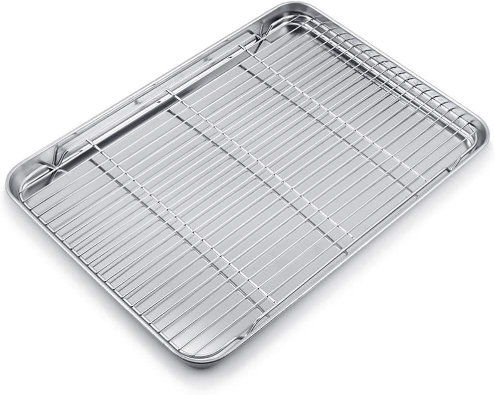 WEZVIX Baking Sheet with Cooling Rack Stainless Steel Baking Tray Cookie Sheet Oven Pan Rectangle Size 24 x 16 x 1.3 inches, Non Toxic & Healthy, Rust Free & Less Stick, Easy Clean & Dishwasher Safe
