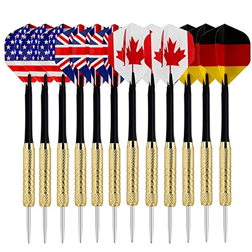 Copper Dart Set - COMSUN Darts, 12 Pack Steel Tip Darts with National Flag Flights (4 Styles), 18 Grams Stainless Steel Needle Brass Barrels with 5 Extra Free PVC Dart Rods for Any Dartboard