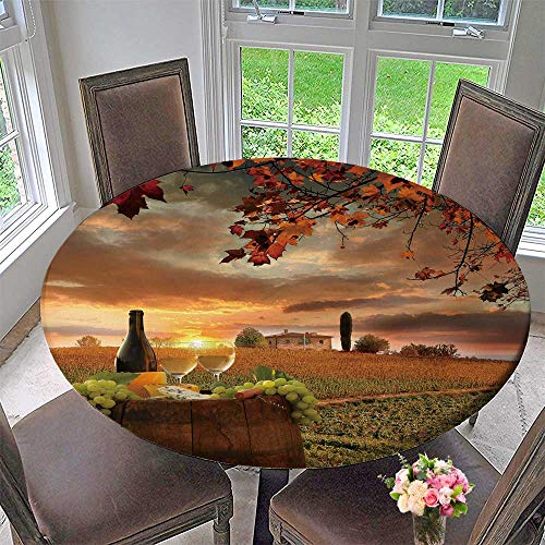 PINAFORE HOME Circular Table Cover White Wine with Barrel on Vineyard in Chianti Tuscany Italy for Wedding/Banquet 50