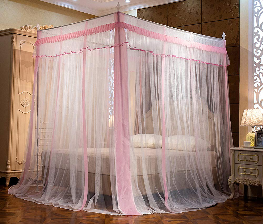 JQWUPUP Elegant Canopy Bed Curtains, Ruffle Princess 4 Corner Post Mosquito Net, Bed Canopy for Girls Kids Toddlers Crib, Bedding Décor (Full, Pink)