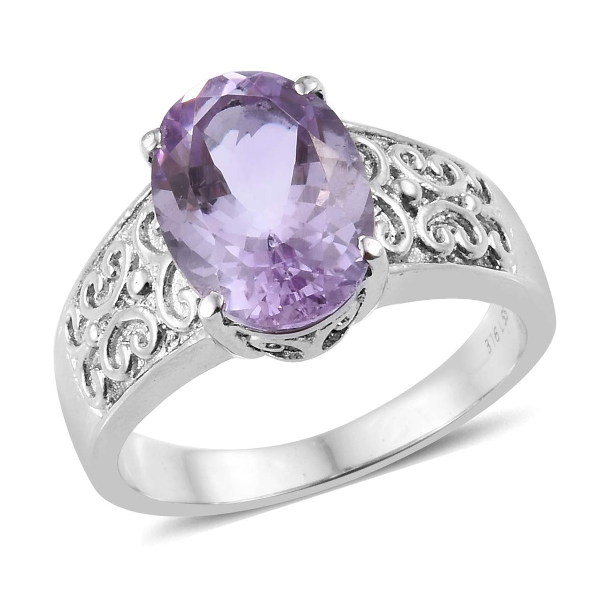 Shop LC Delivering Joy Solitaire Ring Stainless Steel Oval Pink Amethyst Gift Jewelry for Women Size 10 Cttw 4.1