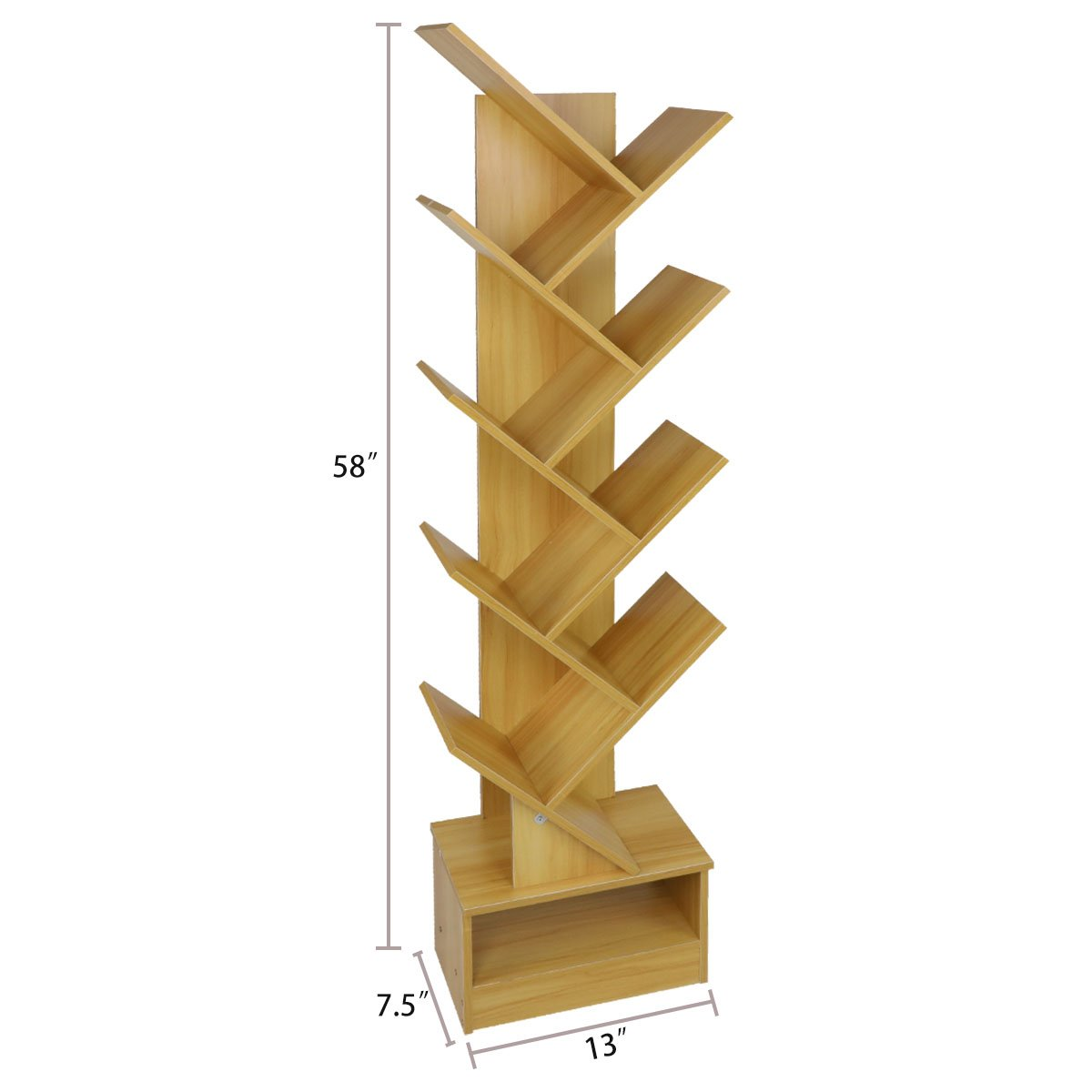 Magshion Tree Bookshelf Compact Book Rack Bookcase Display Storage Furniture for CDs, Movies & Books (9 Shelf)