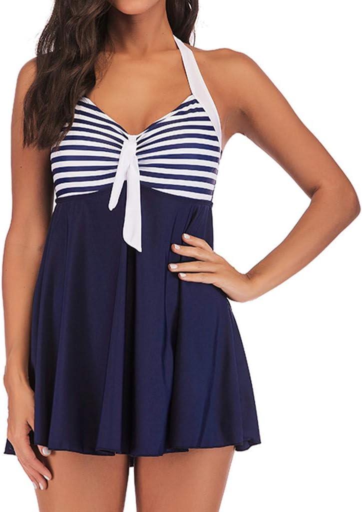 Dark Blue, XXXXL Lovewe 2019 Women Print Padded Backless Tankini Set Swimjupmsuit Swimsuit Beachwear Swimwear Plus Size