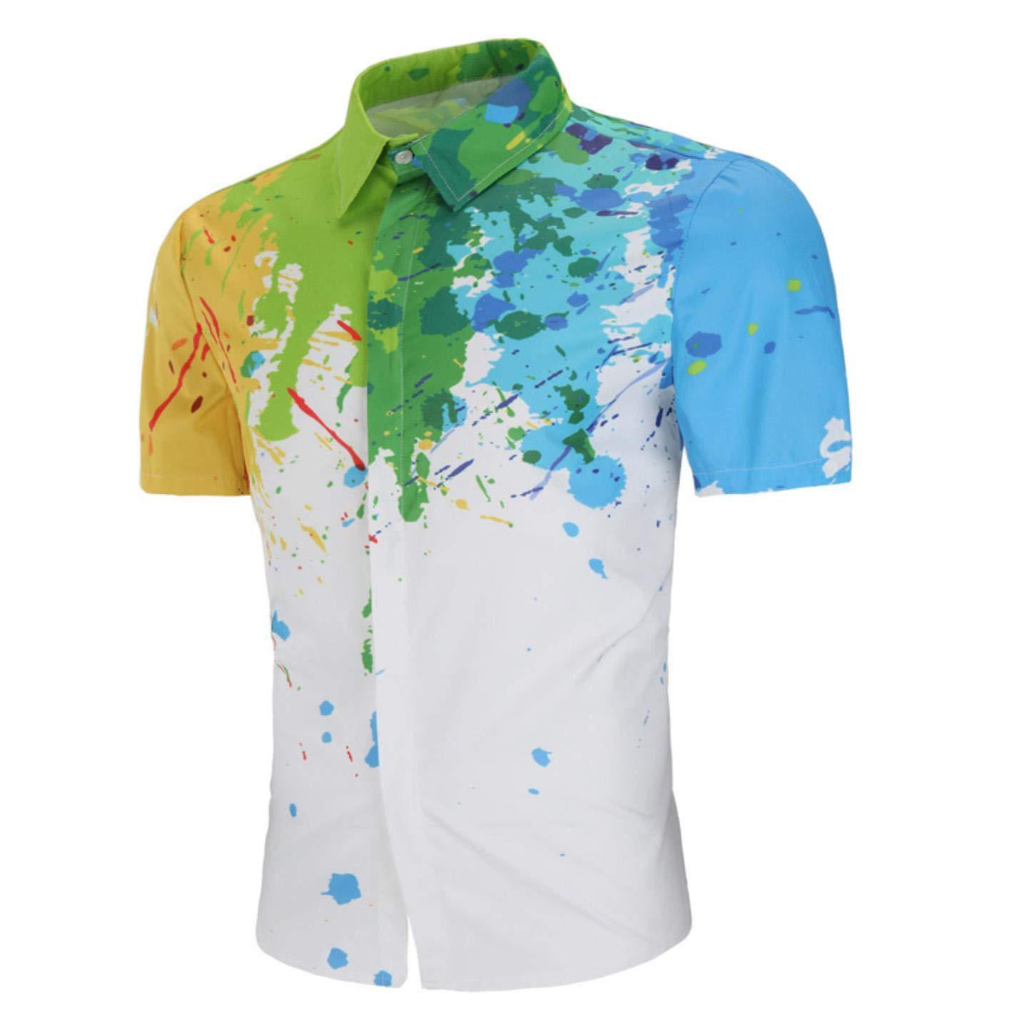 Mens Hawaiian Shirt Chemise Homme Splash Ink Print Short Sleeve Shirt Casual