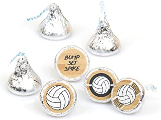 product image for Bump, Set, Spike - Volleyball - Baby Shower or Birthday Round Candy Sticker Favors - Labels Fit Hershey's Kisses (1 Sheet of 108)
