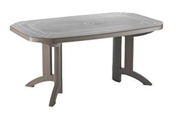 GROSFILLEX 52174181 Table Vega 165 x 100, Taupe, 165 x 100 x 72 cm ...