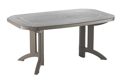 Table de jardin 165X100cm + 6 galettes + 1 parasol taupe ...
