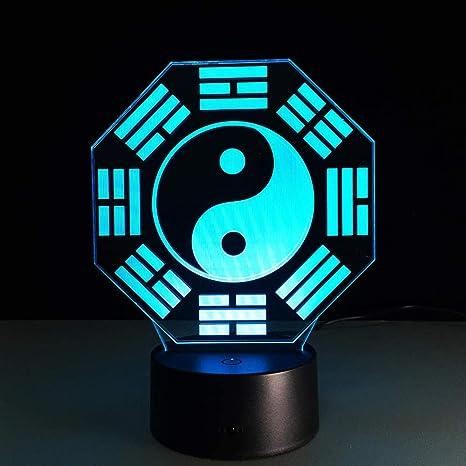 3D Luz De Noche ,Yin Y Yang Taiji,Decoracion Cumpleaños ...