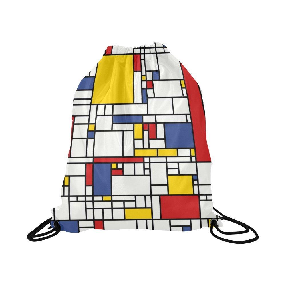 InterestPrint Mondrian Painting Art Drawstring Backpack School Travel Daypack Gym Bag