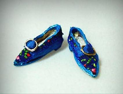 d9d8b3aafba5d8 Amazon.com   Dolls Cobbler Artisan Blue Brocade Flats Shoes Slippers ...