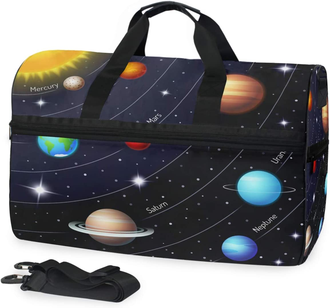 ALAZA Colorful Solar System Twinkle Stars Sports Gym Duffel Bag Travel Luggage Handbag Shoulder Bag with Shoes Compartment for Men Women