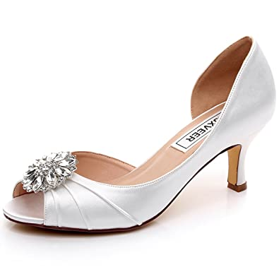 LUXVEER Satin Wedding Shoes   Low Heel Women Shoes 4.5 Inch  2065 Ivory  Awesome Design