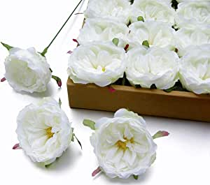 MaxFlowery Silk Bourbon Garden Roses with Wire Stems 24/Box, Faux Flower Blooms Heads for Floral Arrangement Wedding Home Indoor Outdoor Decoration White Cream