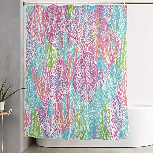 Fungaby Lily Pulitzer Prints 6072 Inch Bathroom Shower Curtain Set Waterproof Bath Curtain Fabric Polyester for Bathroom Decoration,White,One Size (Lilly Pulitzer Bath Accessory Sets Shower Curtains)