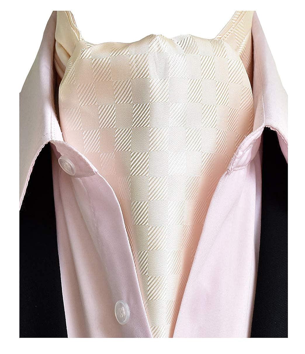 L04BABY Men's Champagne Check Plaid Cravat Ties 100% Silk Woven Scarf Ascot Tie LINGJINA201911