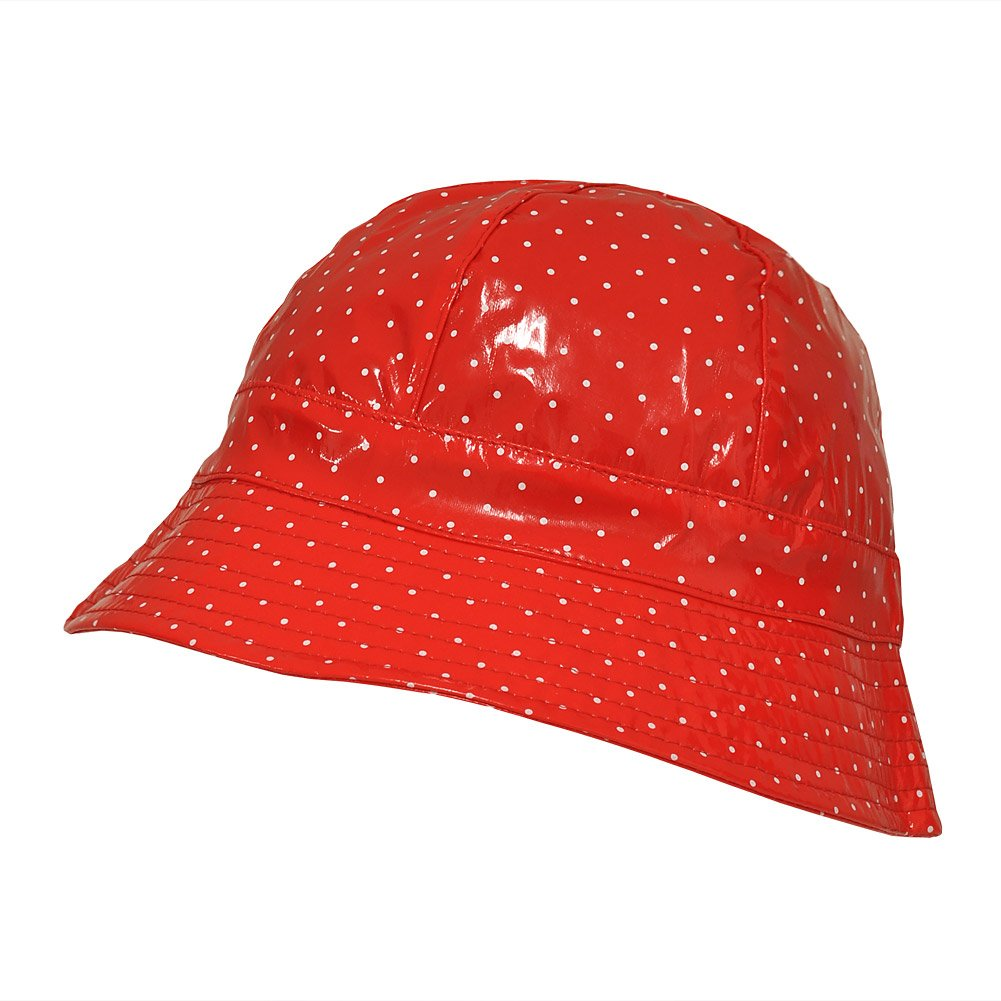 TOUTACOO, Waterproof Vinyl Bucket Rain Hat Polka Dot - Red