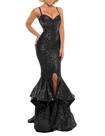 JoJoBridal Womens Sequins Mermaid Evening Formal Dress Prom Gowns Black Size 2