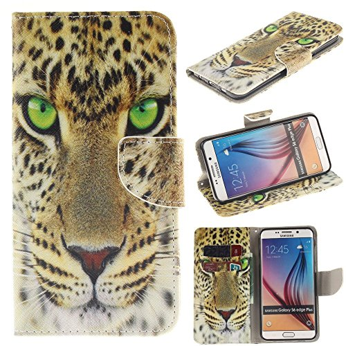 Galaxy S7 Edge Wallet Leather Case,Robot Minions [B Leopard] PU Leather Snap Wallet Flip Kickstand Cover Case For Samsung Galaxy S7 Edge [Not Fit Galaxy S7] [Built-in Card Slots/Cash Pockets]