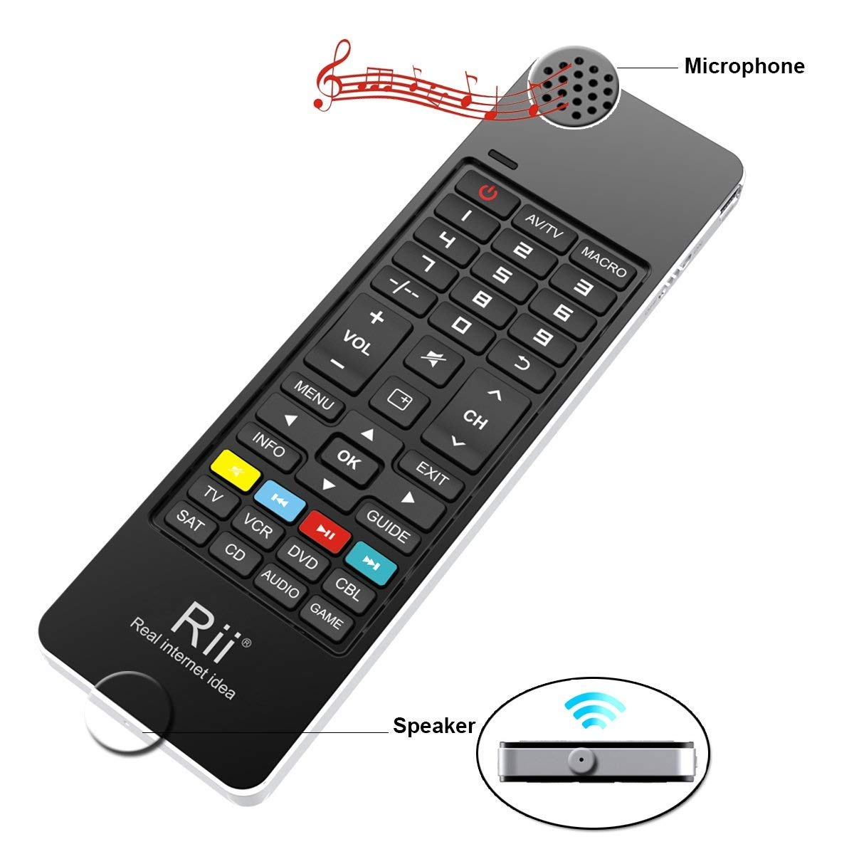 Smart TV Android Box Windows 2000 XP Vista 7 8 10 IR Learning Remote Control Speaker and Microphone for PC Rii K13 5 in 1 Multifunction Mini Wireless Keyboard with Fly Mouse
