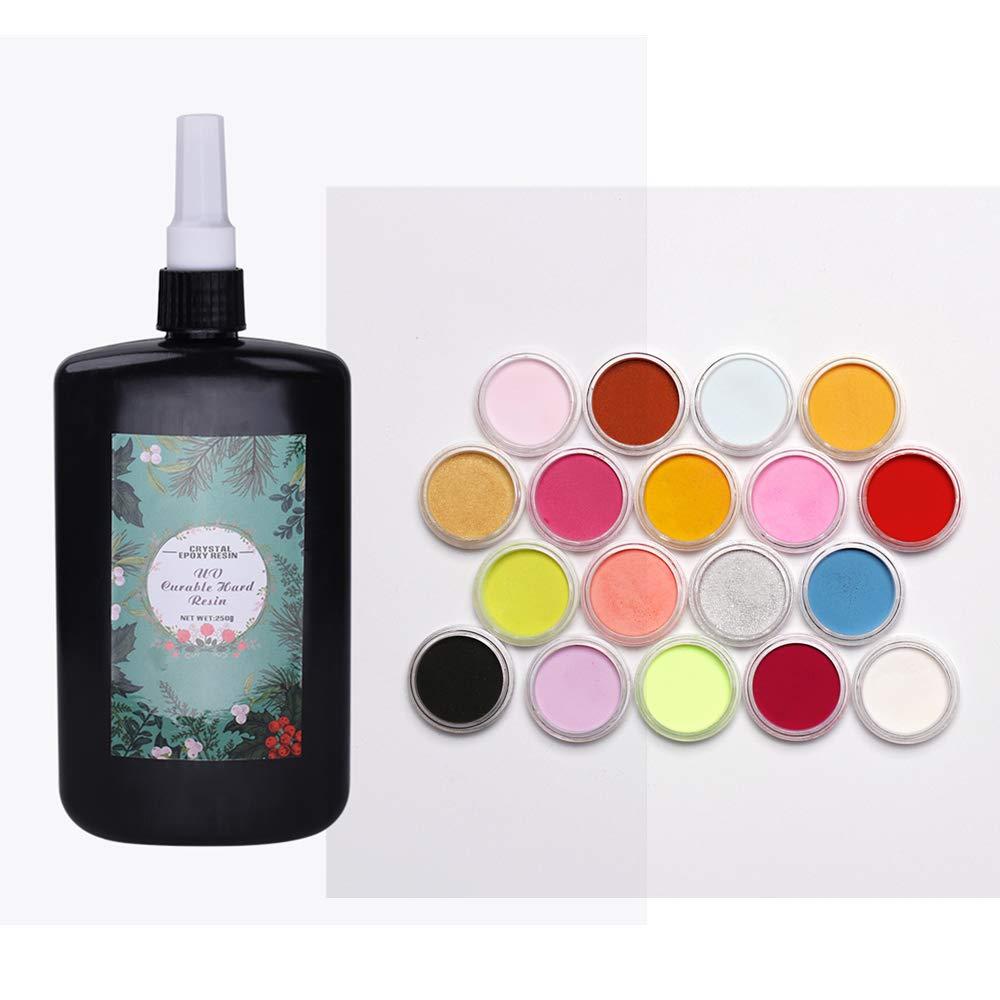 Joligel 250g UV Epoxy Resin Crystal Clear Transparent Non-Toxic + 18 Color Pigment Powder Superfine Multi-Colored, Home Epoxy DIY Kit