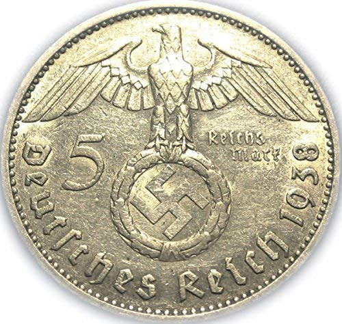 1 Authentic Historical 5 Reichsmark Silver Nazi Era Coin Comes With A Certificate of Authenticity Circulated Graded by Seller