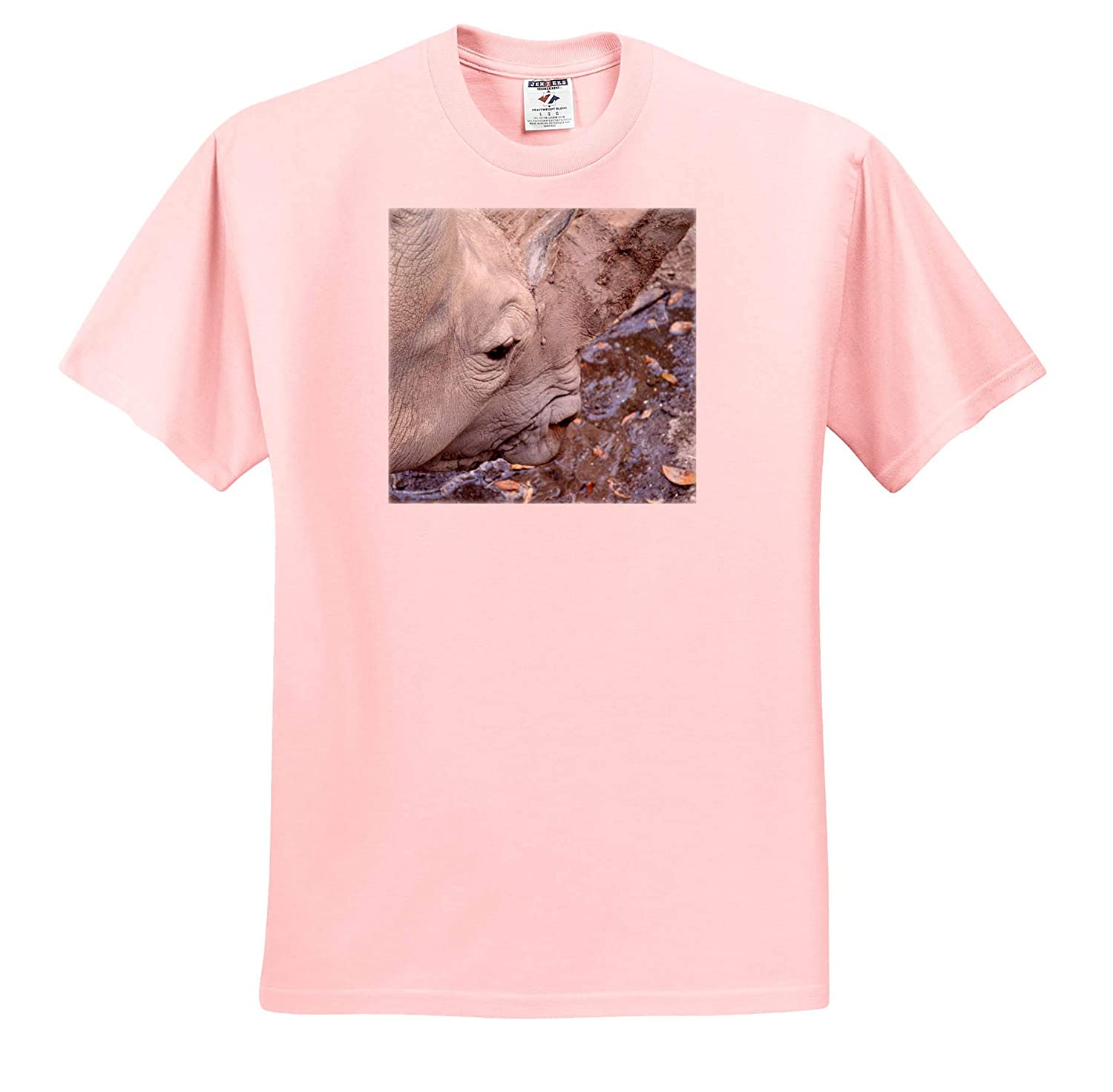 T-Shirts Rhino Head from Side Mouth Open 3dRose Susans Zoo Crew Animal