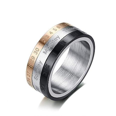 Anillo para hombre con anillo de dedo Oro Plata Negro 3 ...