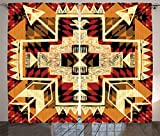 Ambesonne Arrow Decor Curtains 2 Panel Set by, Native American Inspired Retro Aztec Pattern Mod Graphic Design Boho Chic Art Print, Living Room Bedroom Decor, 108 W X 84 L Inches, Cream Merigold