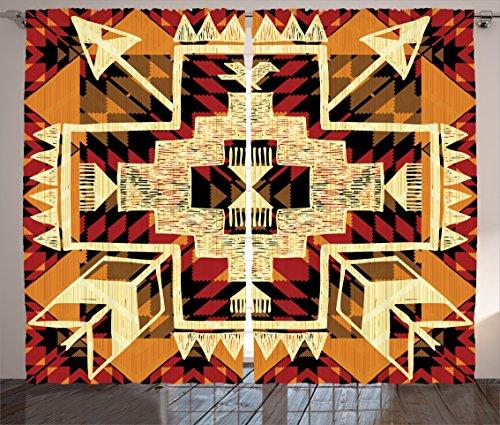 Ambesonne Arrow Decor Curtains 2 Panel Set by, Native American Inspired Retro Aztec Pattern Mod Graphic Design Boho Chic Art Print, Living Room Bedroom Decor, 108 W X 84 L Inches, Cream Merigold