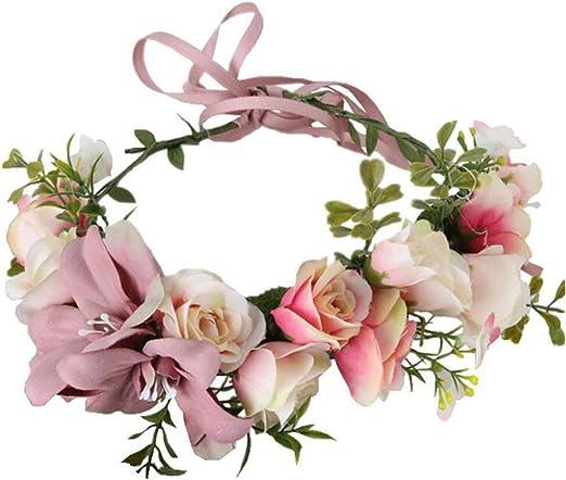Bride Boho Floral Crown Pearl Lace Flower Headband Hairband Wedding Hair Garland